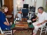 Host Barry plays William at Backgammon